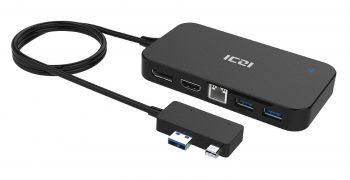 ICZI Surface 3/Pro 4専門のアダプタ USBハブ Minidp-hdmi Minidp-Dpの信号転換 LAN端子付き